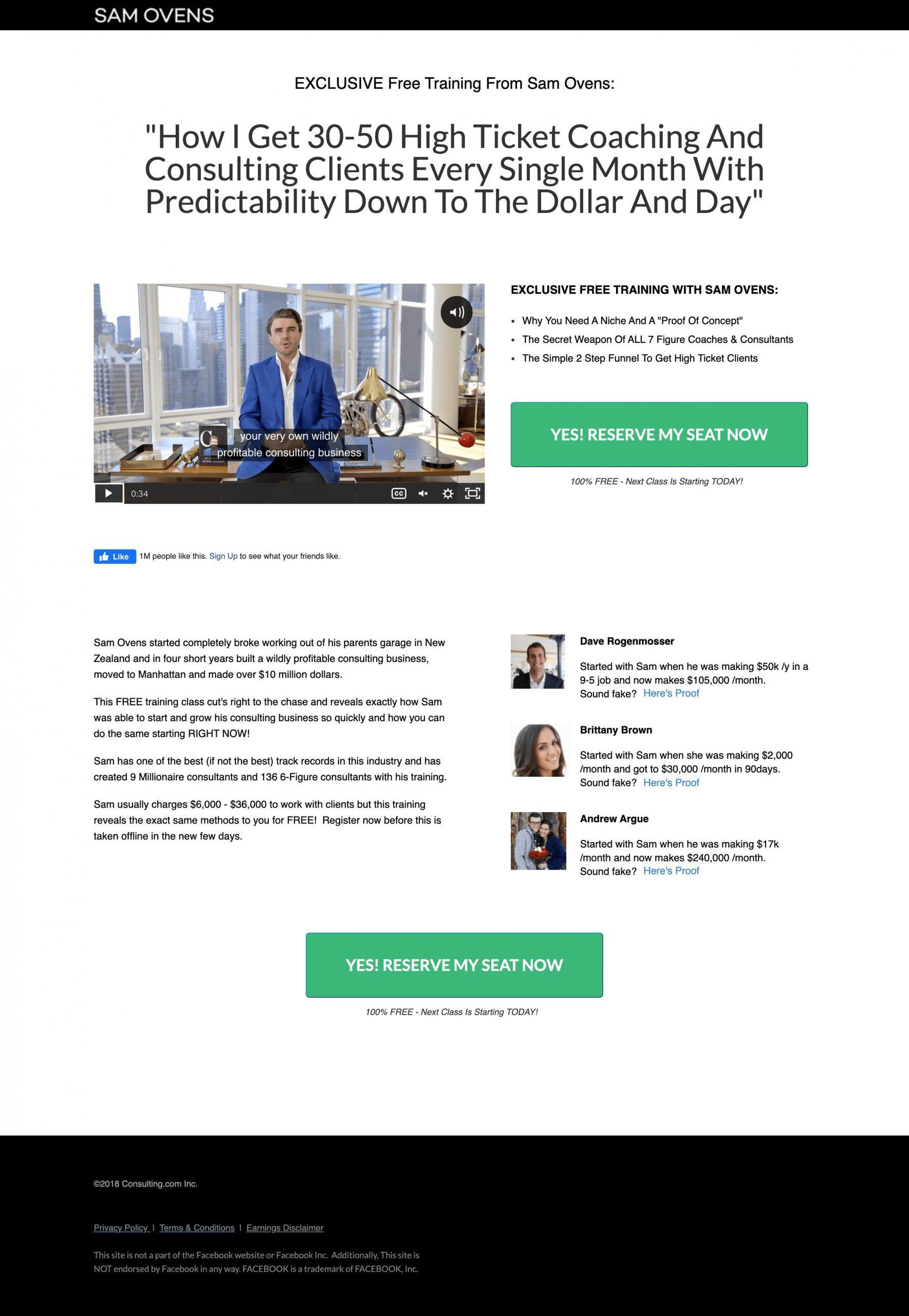 consulting.com automated webinar page
