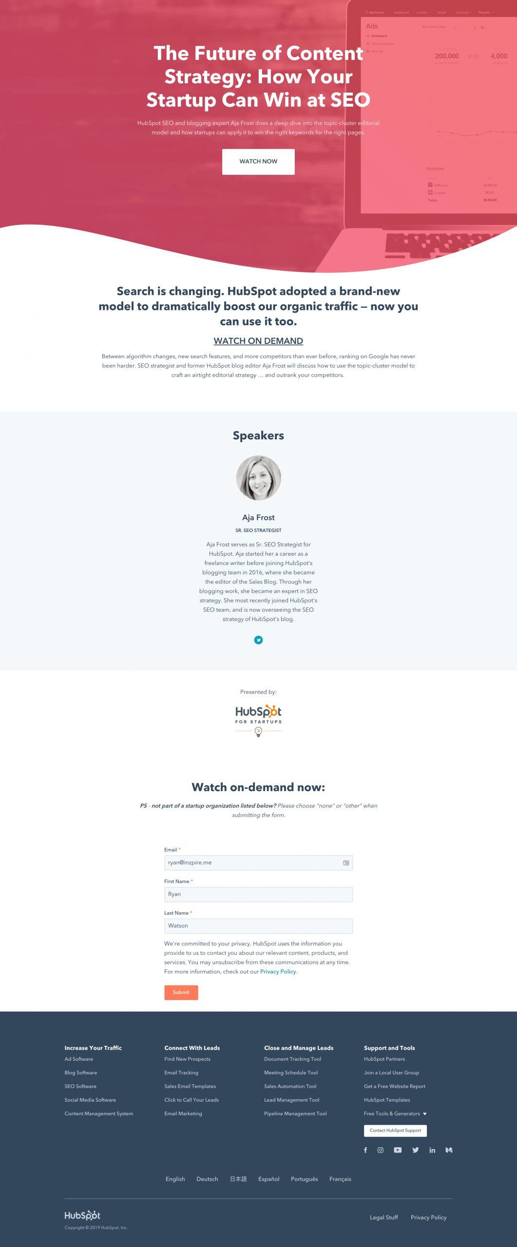 Hubspot Webinar landing page