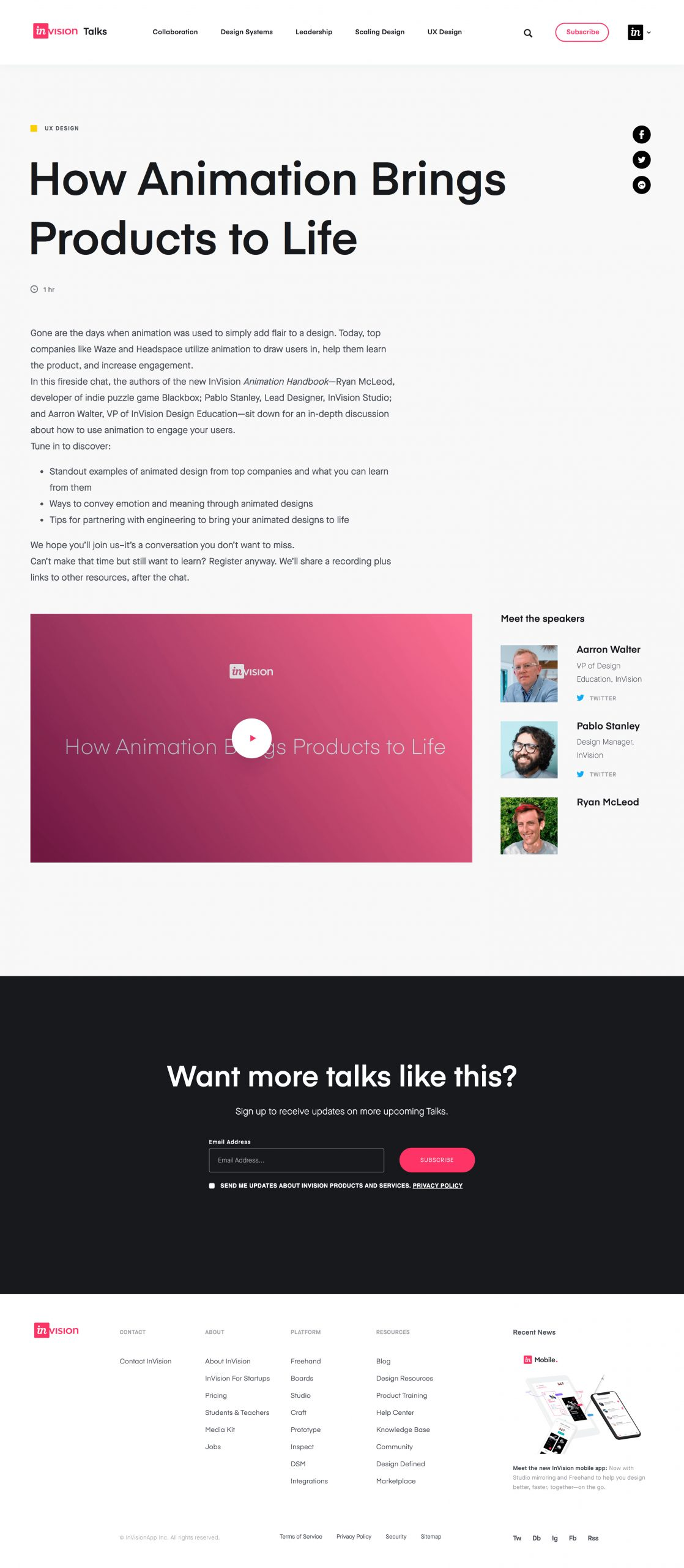 webinar landing page for Invision