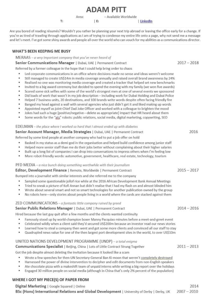 fantastic resume example