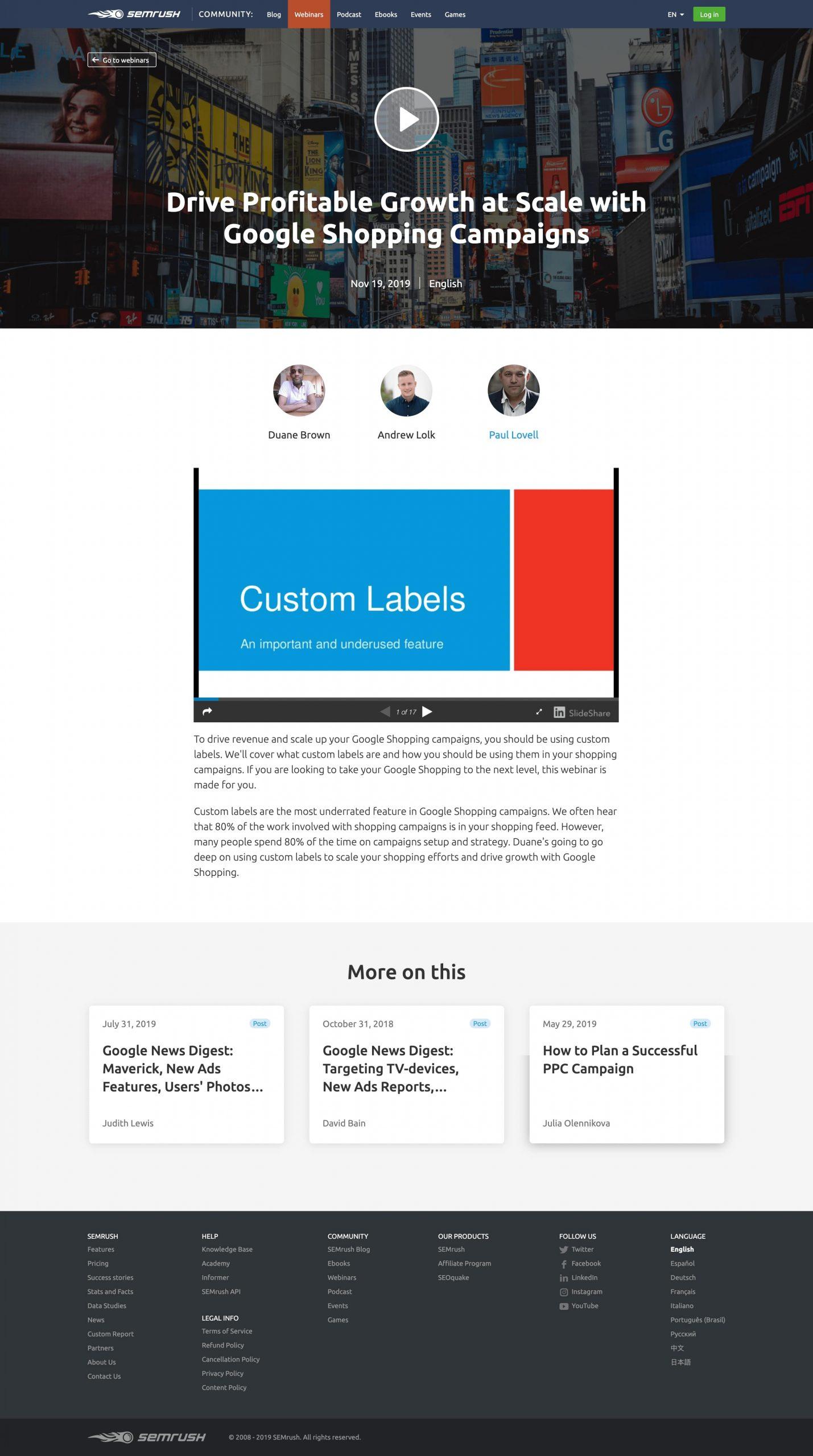 Semrush webinar landing page