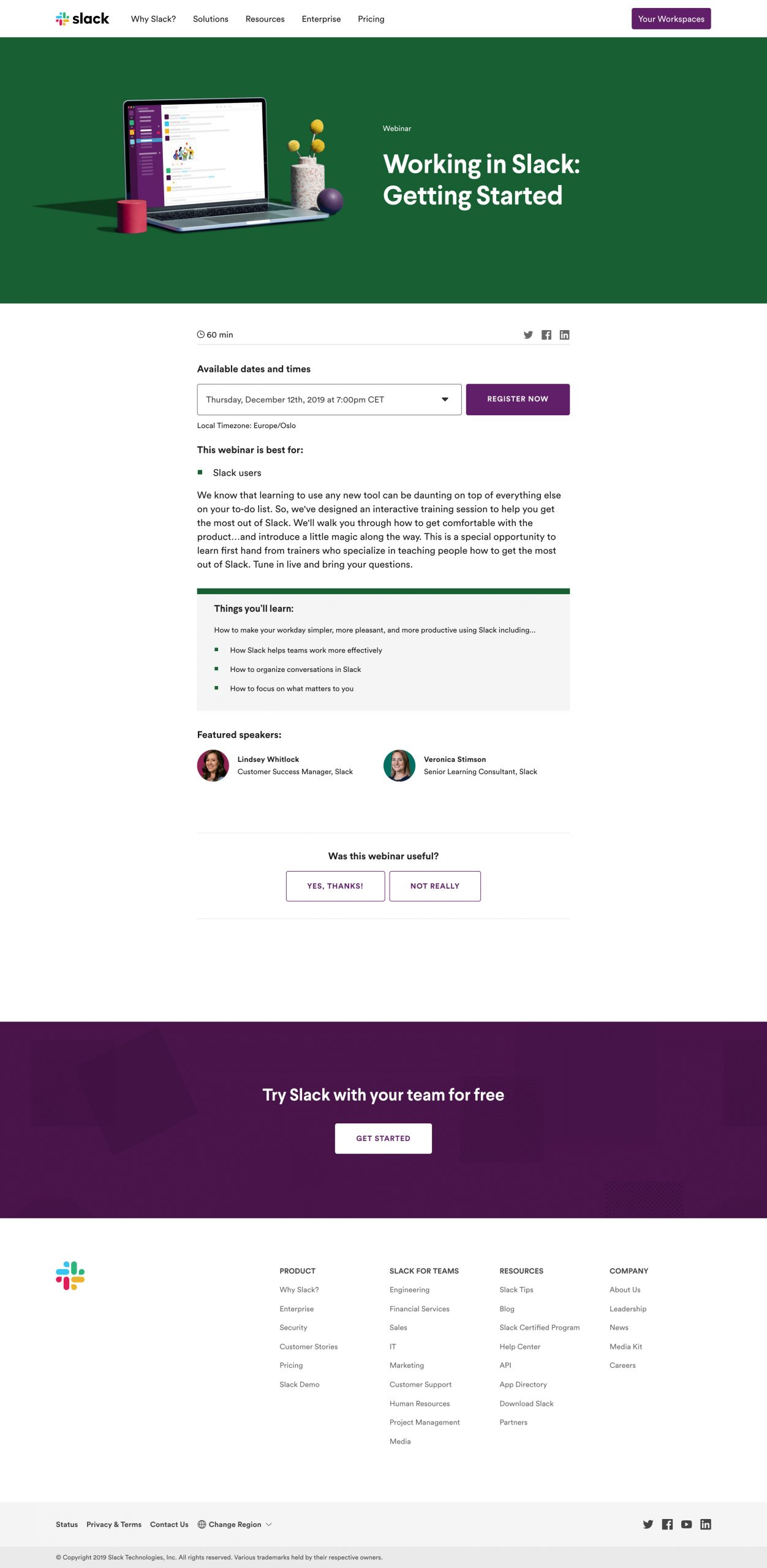 slack webinar landing page