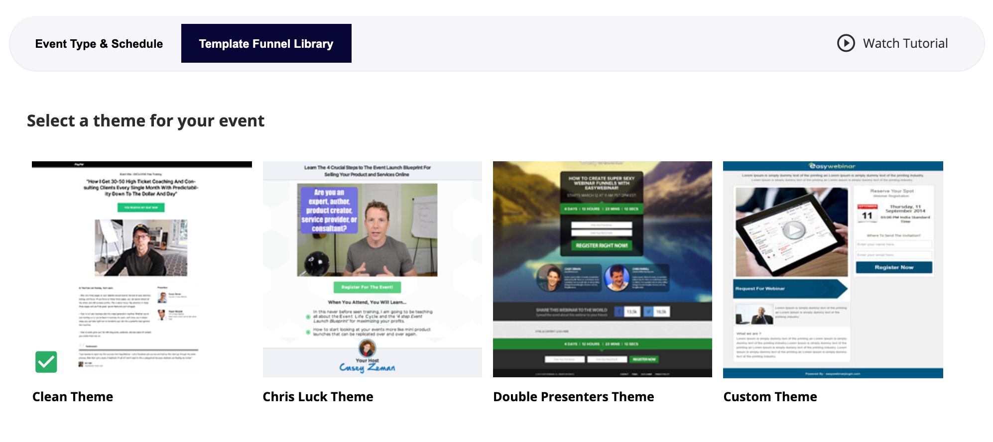 EasyWebinar funnel library