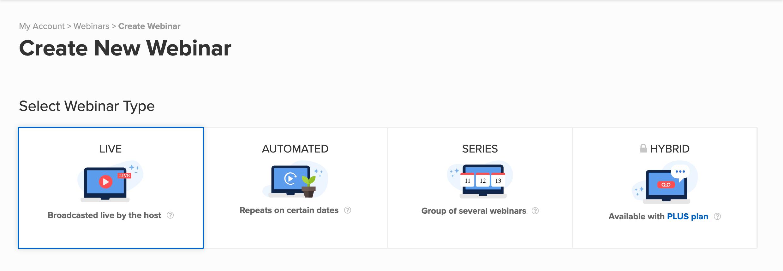 webinar format selection